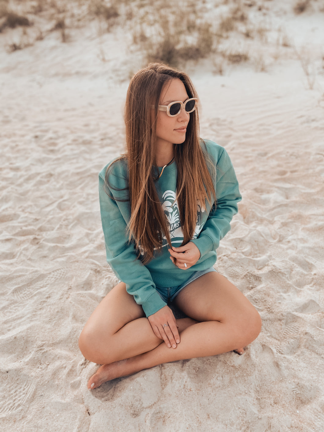 Ty Williams Organic Crew Neck Sweatshirt-Aqua