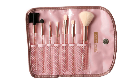 7 Piece Brush Set in Pouch - Rose Gold Glitter