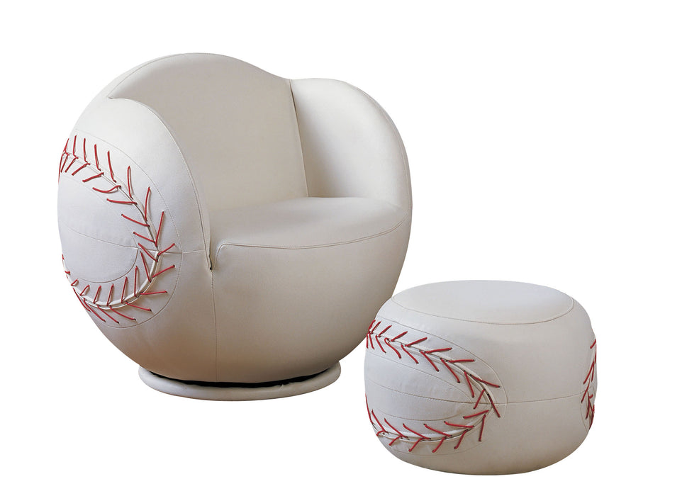All Star Baseball: White Chair & Ottoman (2Pc Pk) image