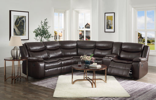 Tavin Espresso Leather-Aire Match Sectional Sofa (Motion) image