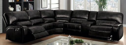 Saul Black Leather-Aire Sectional Sofa (Power Motion/USB) image