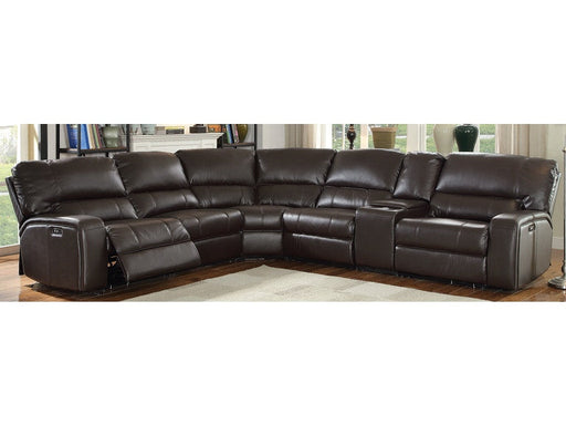 Saul Espresso Leather-Aire Sectional Sofa (Power Motion/USB) image
