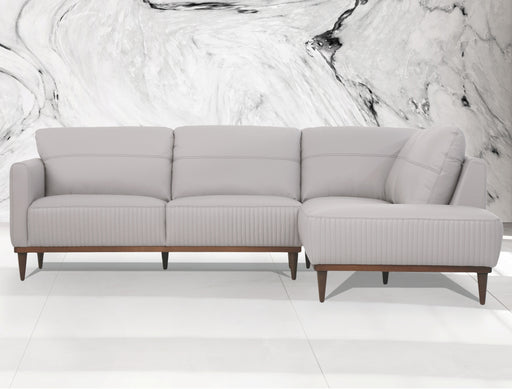 Tampa Pearl Gray Leather Sectional Sofa image
