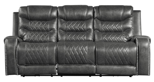 Homelegance Furniture Putnam Double Reclining Sofa with Drop-Down in Gray 9405GY-3 image