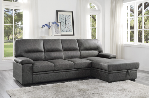 Homelegance Furniture Michigan Sectional with Pull Out Bed and Right Chaise in Dark Gray 9407DG*2RC3L image