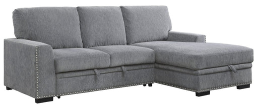 Homelegance Furniture Morelia 2pc Sectional with Pull Out Bed and Right Chaise in Dark Gray 9468DG*2RC2L image