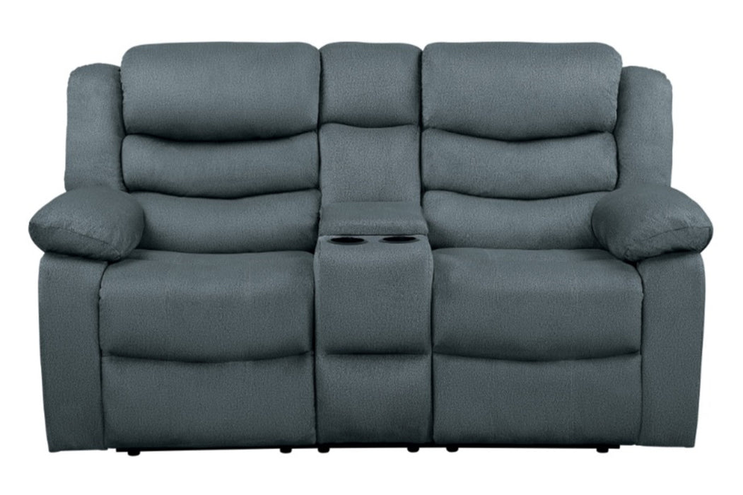 Homelegance Furniture Discus Double Reclining Loveseat in Gray 9526GY-2 image