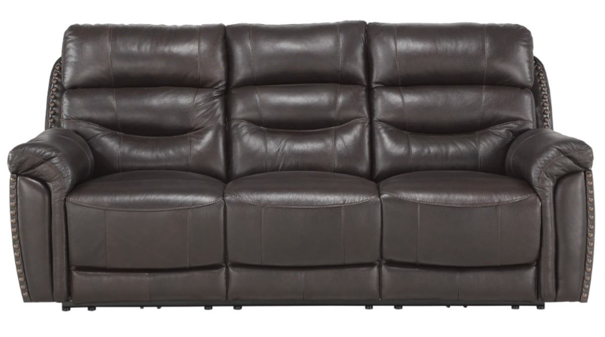 Homelegance Furniture Lance Power Double Reclining Sofa with Power Headrests in Brown 9527BRW-3PWH image