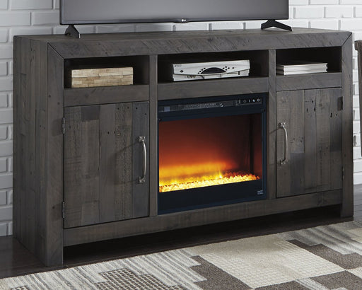 Mayflyn Signature Design by Ashley TV Stgand with Fireplace image