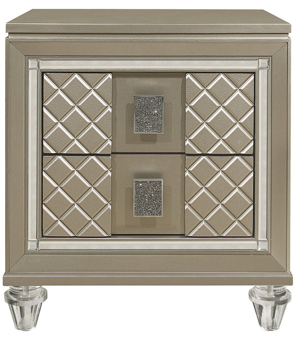Homelegance Furniture Youth Loudon 2 Drawer Nightstand in Champagne Metallic B1515-4 image