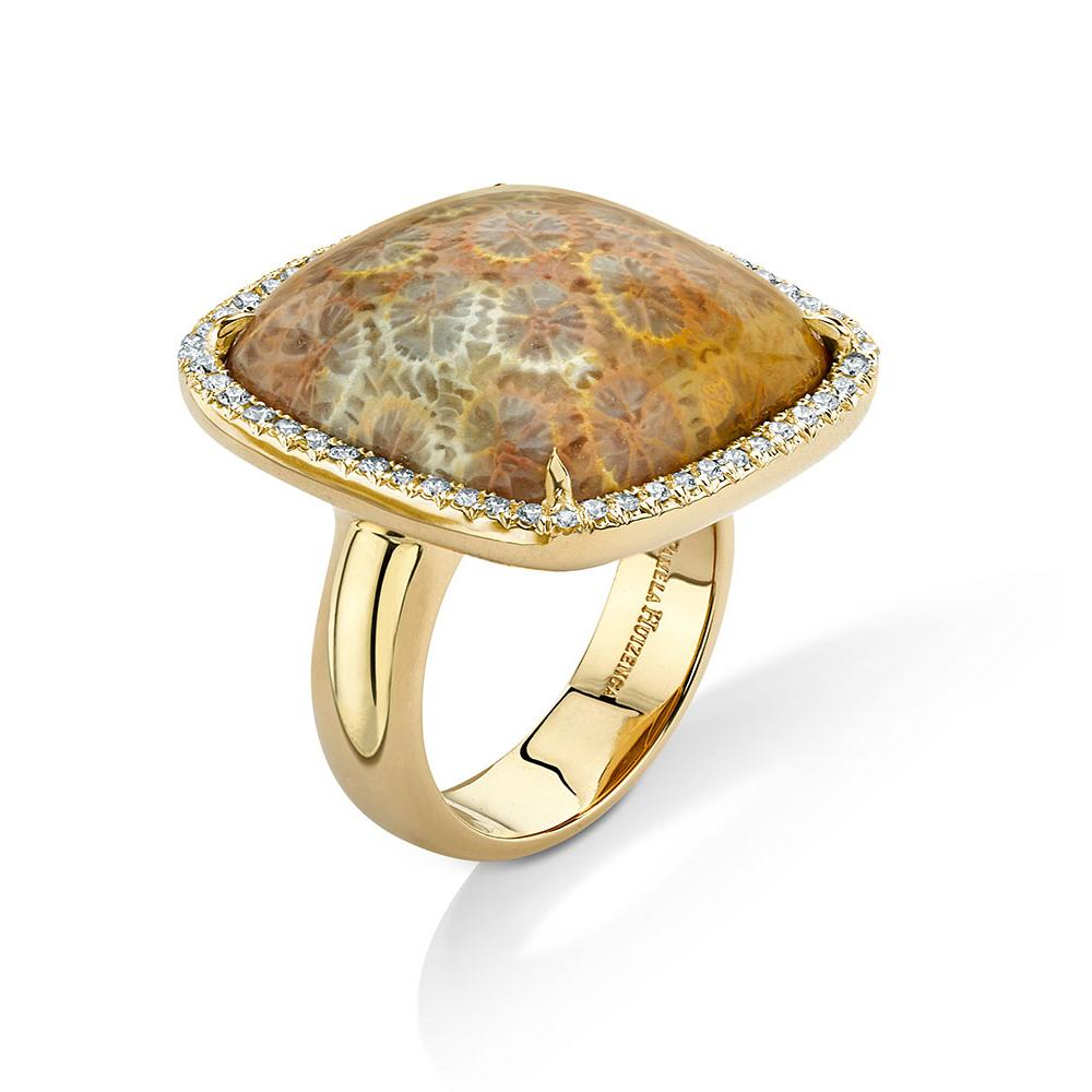18k Fossilized Coral Ring