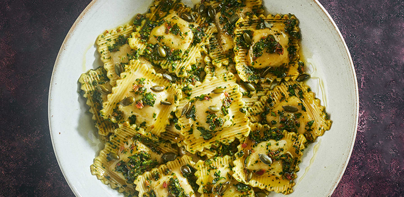 Spiced Butternut Squash Ravioli with Spinach Chermoula Dressing