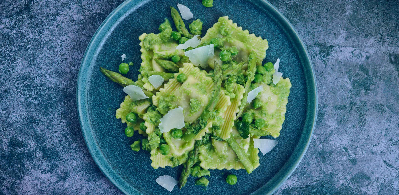 Asparagus & Mozzarella Ravioli with Peas & Mint