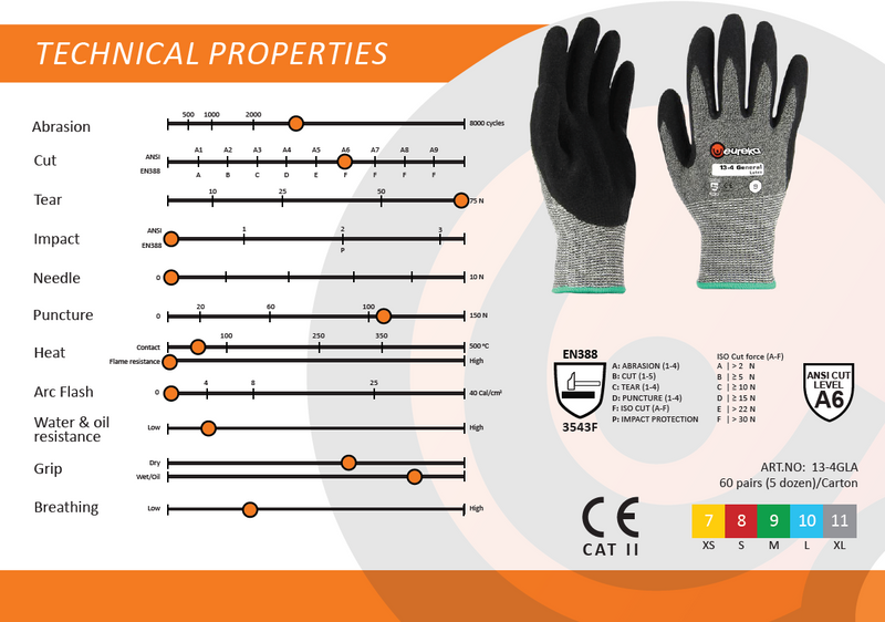 Eureka 13-4 General Latex Cut Gloves