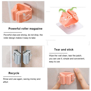 2177 Magic Sticker Series Self Adhesive Mop and Broom Holder - DeoDap
