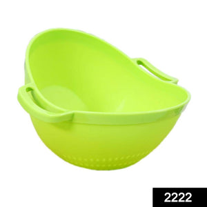 2222 Multipurpose Fruit Vegetable Strainer Colander Bowl with Handle - DeoDap