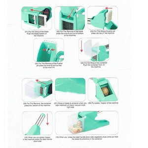 0114 Virgin Plastic French Fry Chipser, Potato Chipser/Potato Slicer with Container
