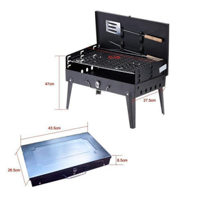 0125 Stainless Steel Briefcase Style Barbecue Grill Toaster (Medium, Black)