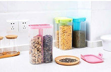 Load image into Gallery viewer, 2146 Plastic 2 Sections Air Tight Transparent Food Grain Cereal Storage Container (2 ltr) (With Box) - DeoDap