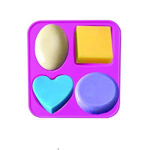 0773 Silicone Circle, Square, Oval and Heart Shape Soap And Mini Cake Making Mould