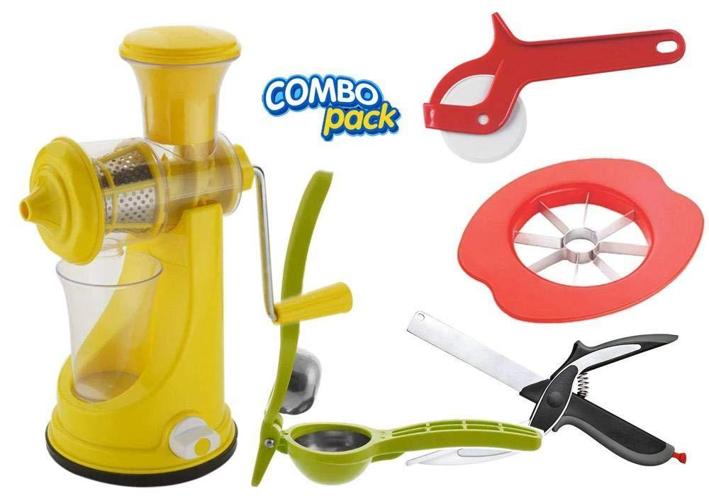 Orange Props Kitchen combo -Manual Fruit Juicer, Smart Knife and 3 Kitchen Tools (Pizza Cutter, Apple Cutter & Lemon Squeezer)