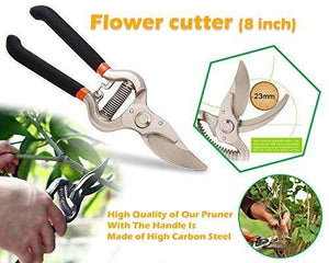 Orange Props Gardening Tools - Reusable Rubber Gloves, Pruners Scissor(Flower Cutter) & Garden Tool Wooden Handle (3pcs-Hand Cultivator, Small Trowel, Garden Fork)