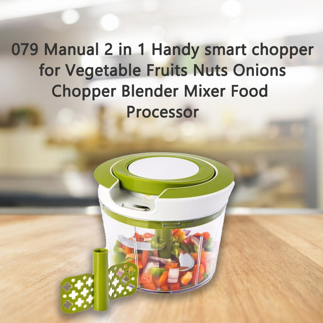 0079 Manual 2 in 1 Handy smart chopper for Vegetable Fruits Nuts Onions Chopper Blender Mixer Food Processor