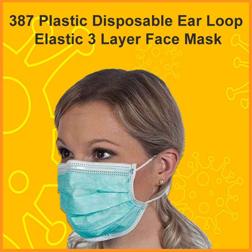 0387 Plastic Disposable Ear Loop Elastic 3 Layer Face Mask (Blue)