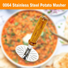 Load image into Gallery viewer, 0064 Stainless Steel Potato Masher, Pav Bhaji Masher with wooden handle - DeoDap