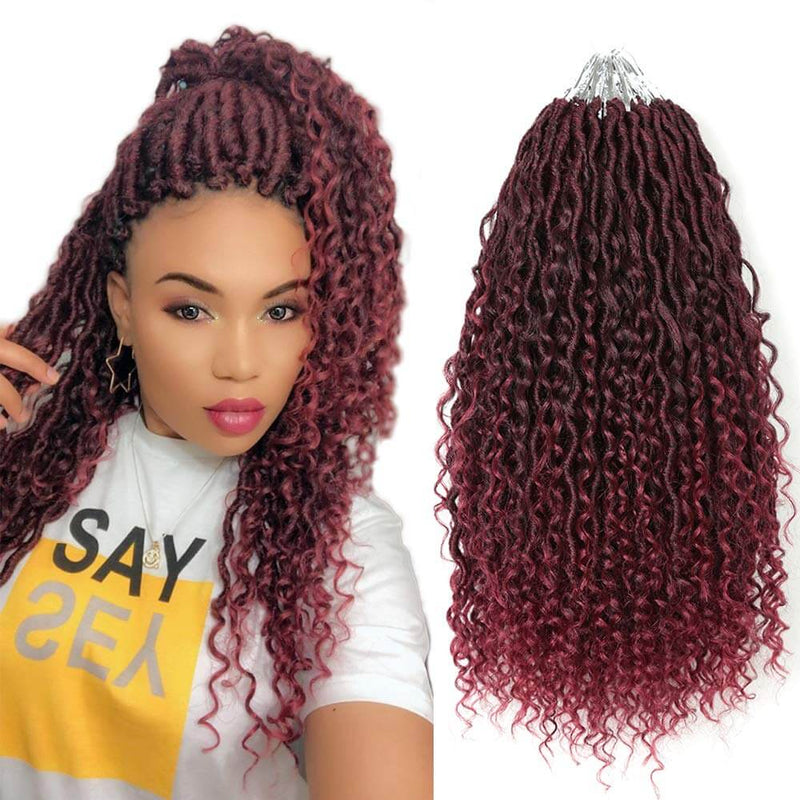 14 inch Goddess Locs Crochet Hair Braids #T530 Burgandy