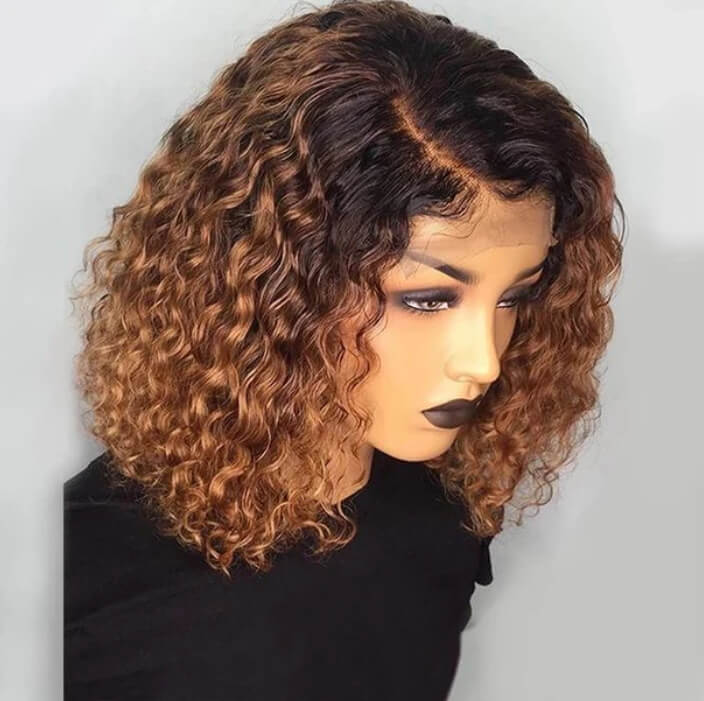 Ombre Brown Curly Hair Lace Front Wigs Synthetic Fiber 1b/30 Short Bob Wigs