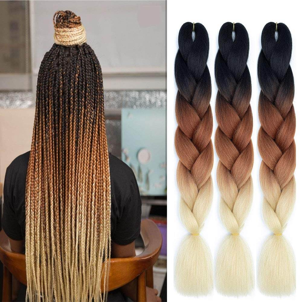 Black to Light Brown To Blonde Synthetic Braiding Hair