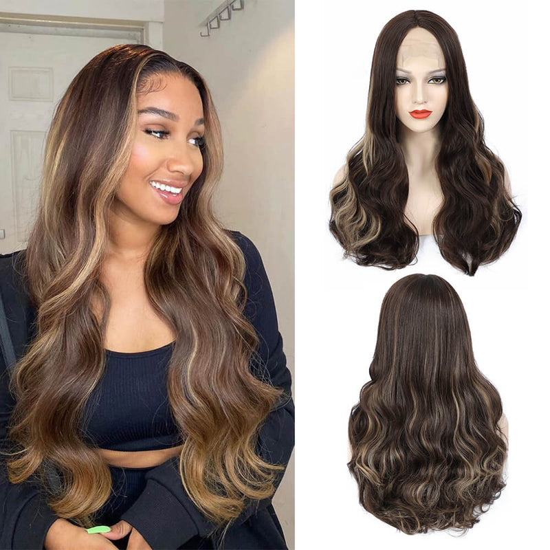 Body Wave Lace Front Wigs Piano Color Wigs Synthetic