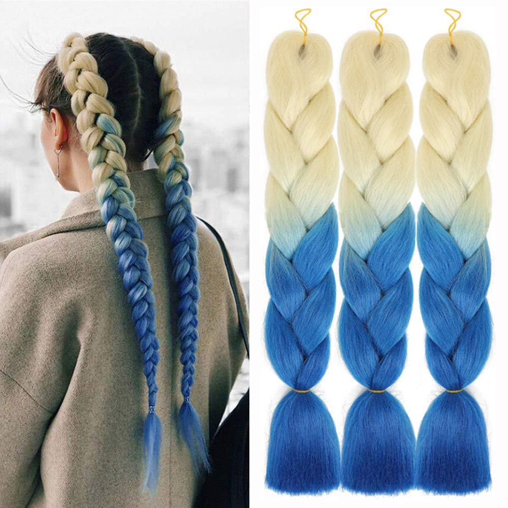 Braiding Hair Ombre Jumbo Braiding Hair Extension Blond To Blue