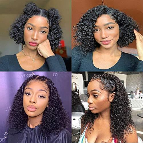 Curly Bob Lace Front Wigs Human Hair Customer Show