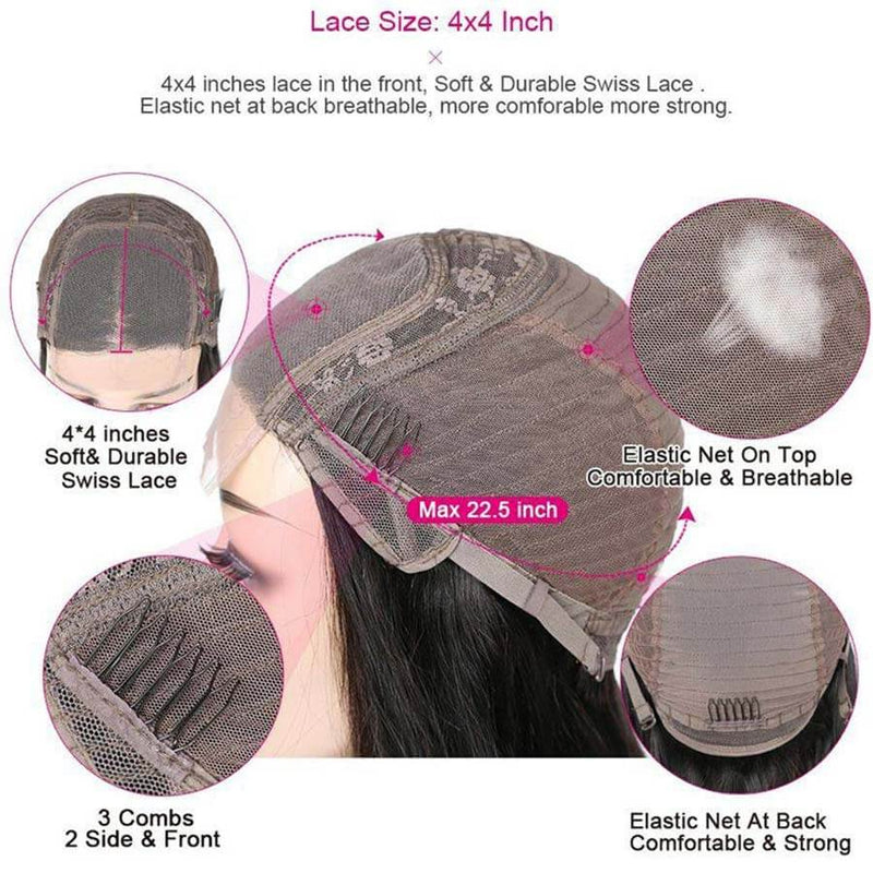 Deep Wave 4x4 Lace Closure Wig Human Hair Wigs For Black Women Cap Show