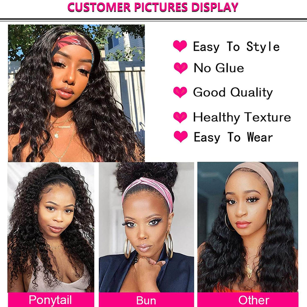 Deep Wave Headbang Wigs for African American Women Human Hair Wig Description