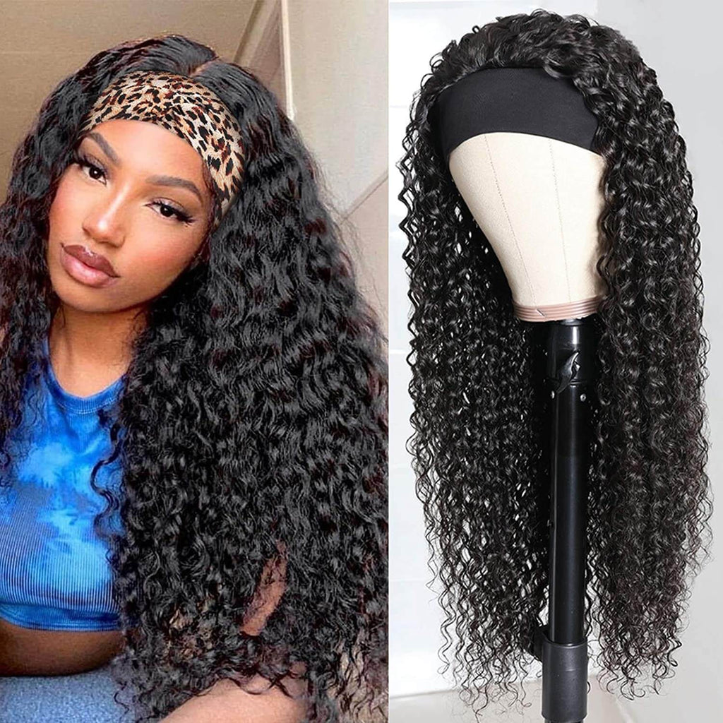 Deep Wave Headbang Wigs for African American Women Human Hair Wig