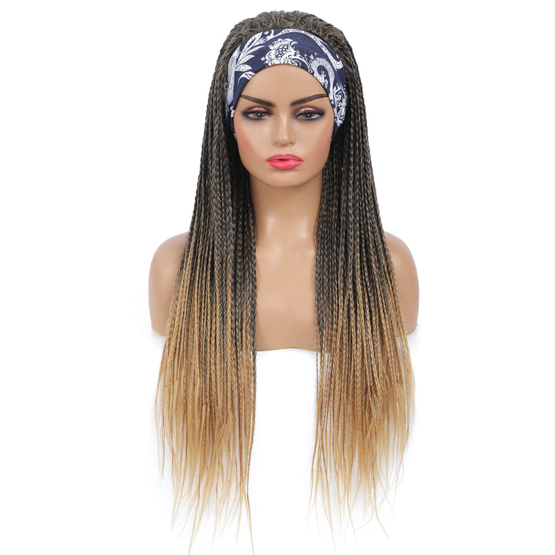 Headband Wigs Box Braided Wigs For Black Women Ponytail Style Color Brown