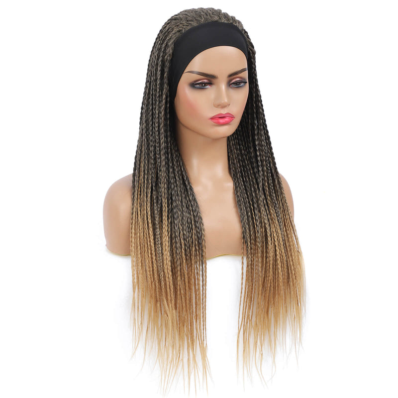Headband Wigs Box Braided Wigs For Black Women Color Blonde Side Show