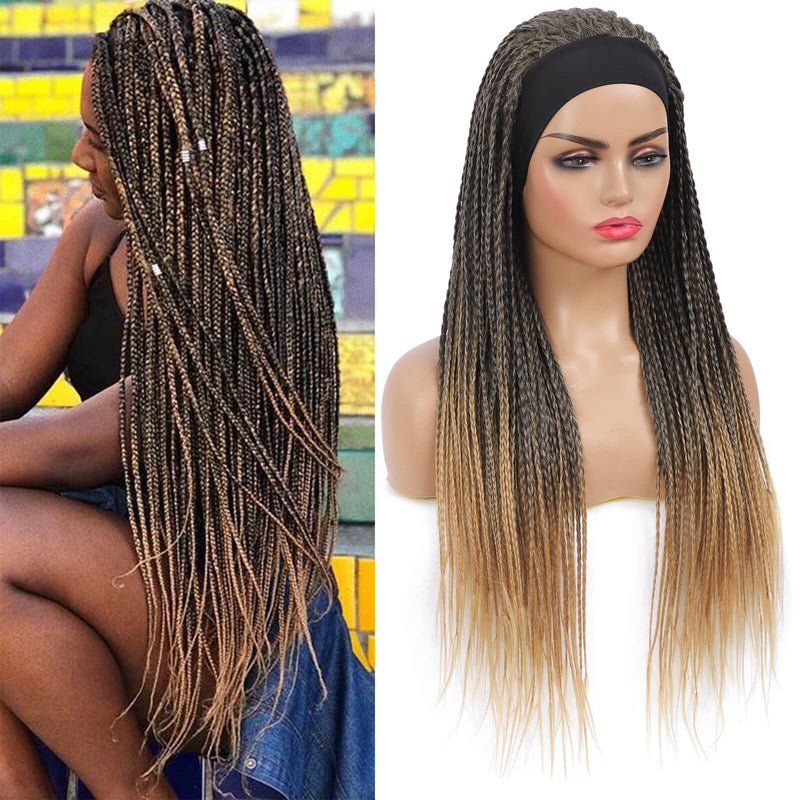 Headband Wigs Box Braided Wigs For Black Women Color Blonde