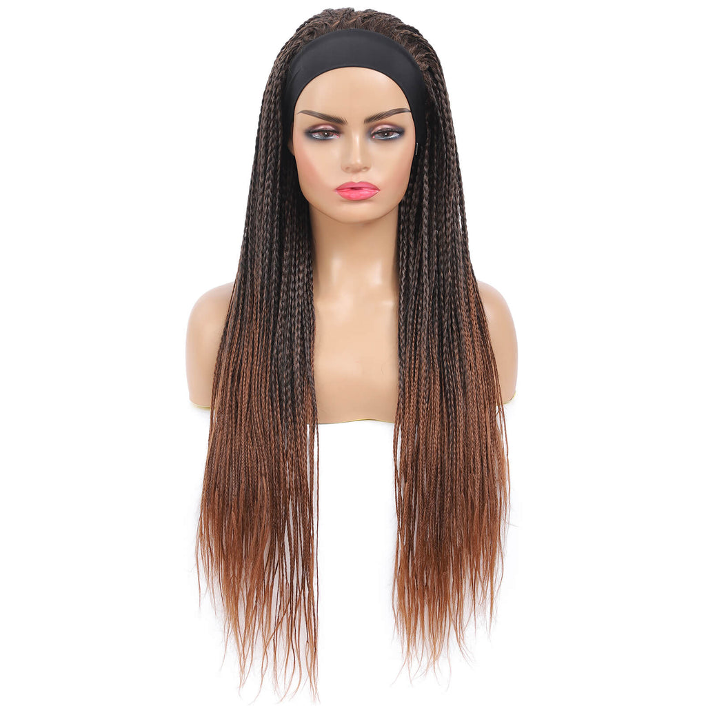 Headband Wigs Box Braided Wigs For Black Women Color Brown Front Show