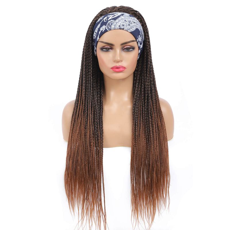 Headband Wigs Box Braided Wigs For Black Women Color Brown Pre Styled