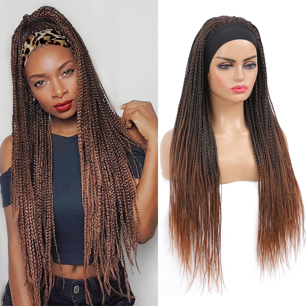 Headband Wigs Box Braided Wigs For Black Women Color Brown