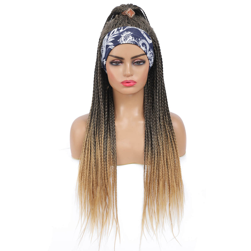 Headband Wigs Box Braided Wigs For Black Women Ponytail Style Color Blonde