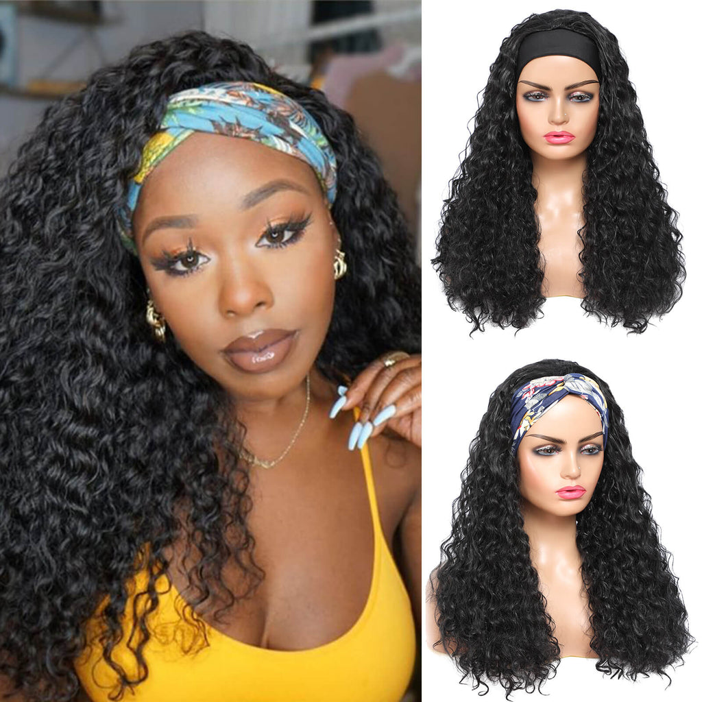 Headband Wigs for Black Women Curly Wave Long Wig