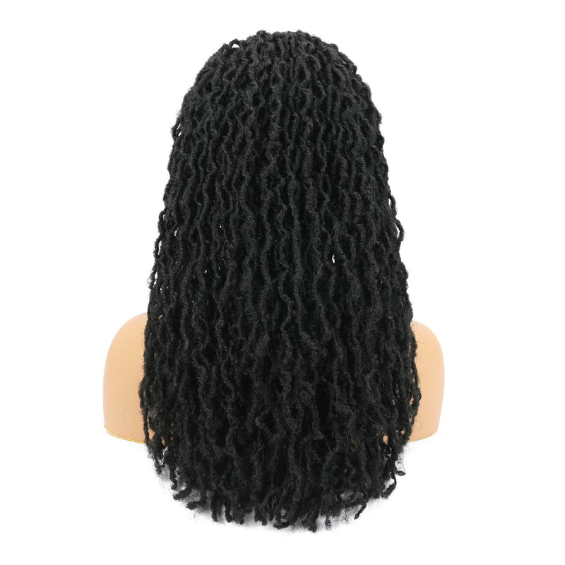 Nu Locs Headband Wigs for Black Women Black Color Braided Wigs Back Show
