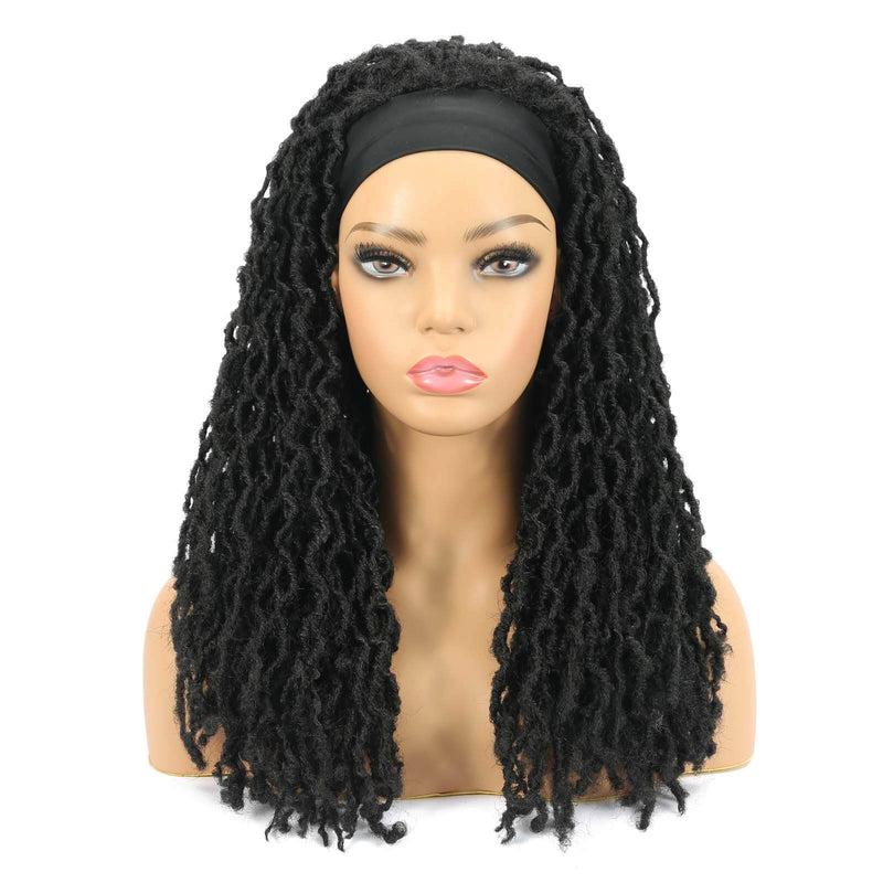 Nu Locs Headband Wigs for Black Women Black Color Braided Wigs Front Show