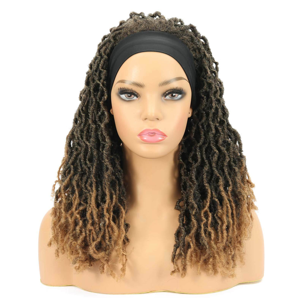 Nu Locs Headband Wigs for Black Women Brown Color Braided Wigs Front Show