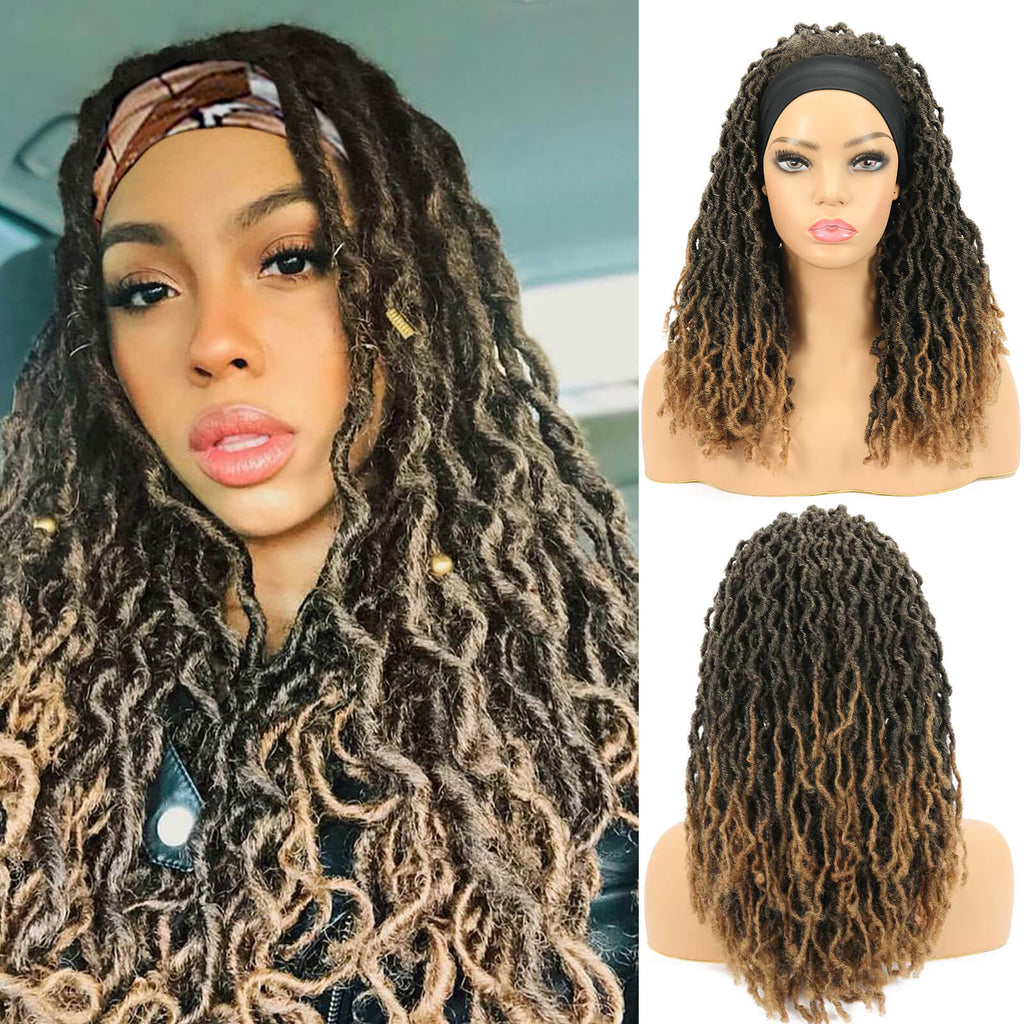 Nu Locs Headband Wigs for Black Women Brown Color Braided Wigs